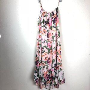 Dresses & Skirts - Charles Henry Floral Spaghetti Strap Ruffle Dress